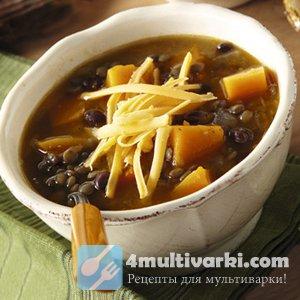 Фасолевый суп в мультиварке с чечевицей и вялеными томатами