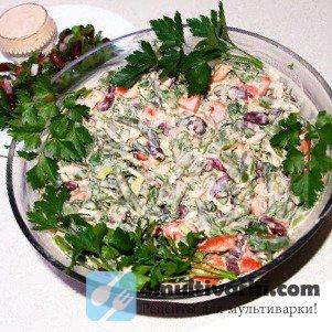 Салатный рецепт фасоли в мультиварке