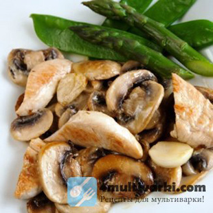 Легкий рецепт курицы с грибами в мультиварке