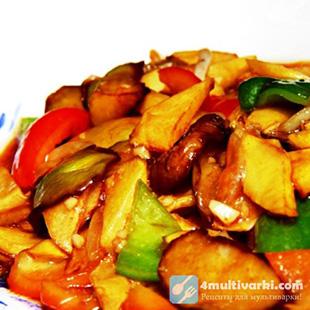 Тушеные баклажаны с картошкой по-китайски в мультиварке
