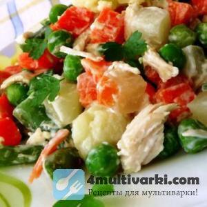Рецепт замороженных овощей в мультиварке со сметаной и куриным филе