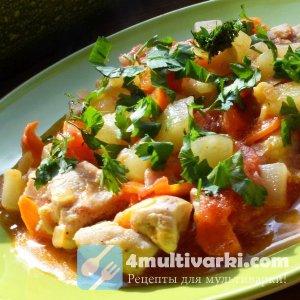 Обжаренные овощи с куриным филе в мультиварке