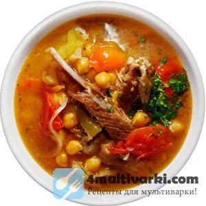 Аппетитный суп с горохом нут в мультиварке