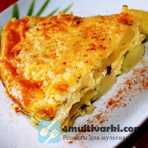 Картофельная запеканка с адыгейским сыром, молоком, яйцами и румяной корочк ...