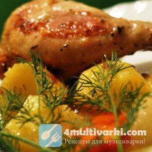 Курица, тушеная с овощами в мультиварке по-русски
