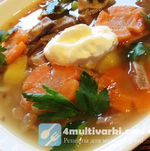 Варим гречневый суп со свининой в мультиварке