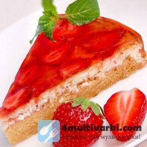 Творожный рецепт пирога с клубникой в мультиварке