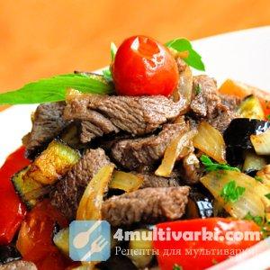 Обжаренное и тушеное мясо с овощами в мультиварке