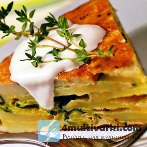 Запеканка из картофеля в мультиварке – с цуккини и взбитыми яйцами