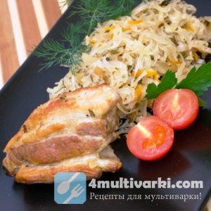 Тушеная квашеная капуста с жареным мясом в мультиварке