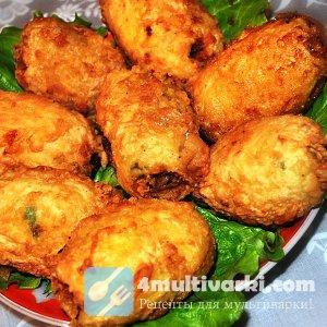 Фаршированная картошка под сыром в мультиварке