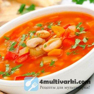 Постный суп фасолевый в мультиварке