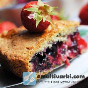 Рецепт пирога с клубникой и черникой