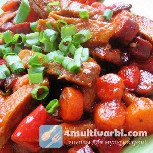 Жареная свинина с овощами – на обед!