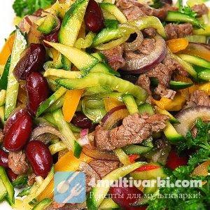 Рецепт теплого салата с мясом