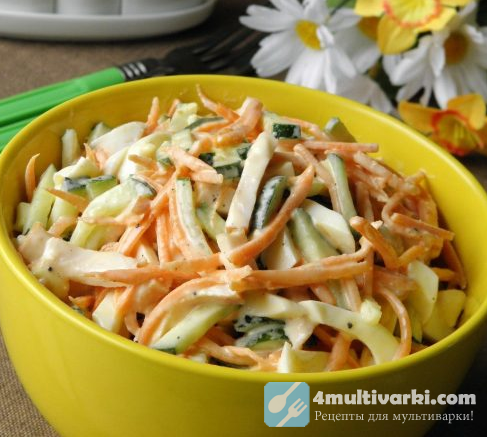 Салат с копченым куриным филе и корейской морковью