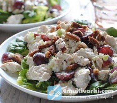 Изысканный салат с курицей и шампиньонами