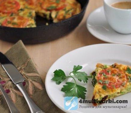 Омлет с брокколи и помидорами